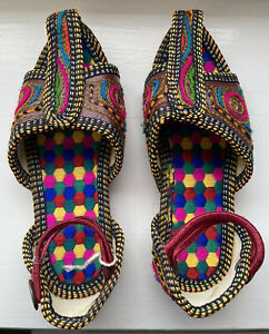Girls Indian Traditional Rajastan Footwear Mojri Multicolour Size 9 NEW