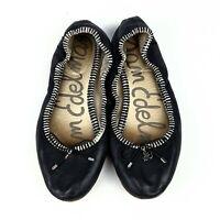 Sam Edelman Felicia Black Leather Ballet Flats Womens Size 7M Logo Charm