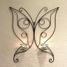 Soporte de pared para velas té Mariposa 54cm candelabro metal teelichthalte