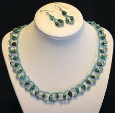 New Genuine Turquoise Gemstone Beaded Necklace Sterling Earring Set Hand Crafted