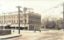 Hyde Park MA Cleary Square Store Fronts Trolley Tracks Photo Postcard