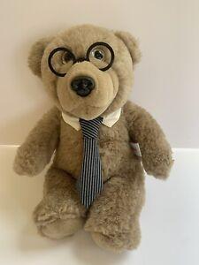 Heartline Graphics Vintage 1987 Teddy Bear Glasses Striped Tie Plush Stuffed Tan