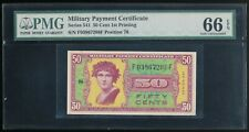 Series 541 50 Cents MPC Military Payment Certificate 1st Printing PMG Gem 66 EPQ