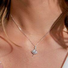 BALLERINA NECKLACE PENDANT W/ BAGUETTE LAB DIAMONDS / 925 STERLING SILVER / 18''