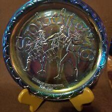 Vtg Fenton Purple Blue Carnival Glass Spitit 76 Bicentennial plate Mint