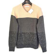 BRUNELLO CUCINELLI Mens Beige Gray Cashmere Wool V Neck Sweater (MSRP $2,090)