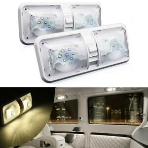 2PC RV LED 12V Ceiling Fixture Double Dome Light For Camper Trailer Marine