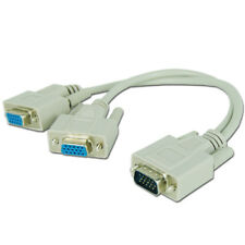 1 PC to 2 Way VGA SVGA Monitor Y Splitter Cable Lead 15Pin Male Female LCD TFT