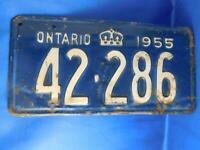 ONTARIO LICENSE PLATE 1955 42 286 VINTAGE CANADA ANTIQUE CAR SHOP GARAGE SIGN