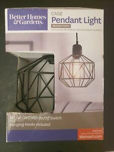 "BETTER HOMES & GARDENS 9.25"" METAL HEXAGON CAGE BRONZE PENDANT LIGHT SHIPS FREE"