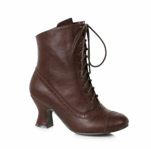 Brown Vintage Victorian Lace Up Civil War Era Period Womans Costume Boots Shoes