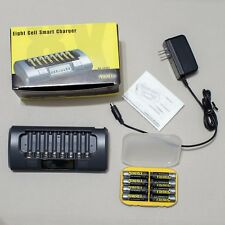 Maha PowerEx MH-C800S Eight Cell Smart Charger,+ 8pc. AA Batteries + spec. case.