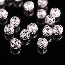500pcs Silver 4mm Round Small Hollow Metal Loose Spacer Beads for Jewelry Making