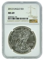2012 1oz Silver American Eagle NGC MS69 Brown Label