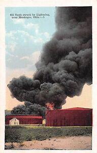 C31/ Muskogee Oklahoma Ok Postcard c1915 Oil Tank Disaster Lightening Strike