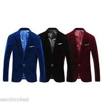 Men Velvet Blazer Slim Luxury Coat Dinner Suit Jacket Smart Formal Casual Jacket