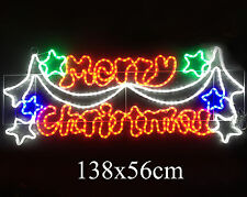 LED Neon Steady On Merry Christmas Sign Motif Lights Indoor Outdoor 24V