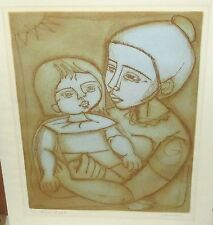 "IRVING AMEN ""BLUE LIGHT"" MOTHER AND CHILD LIMITED EDITION HAND SIGNED ETCHING"