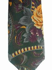 """Rooster Men's Rayon/Wool Tie 58.5"""" X 4"""" Dark Multi-Color Floral Abstract"""