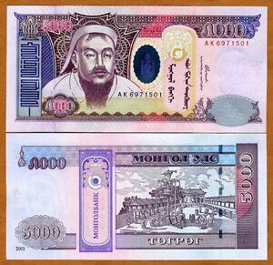 Mongolia, 5000 (5,000) Tugrik, 2003, P-68, UNC > Genghis Khan