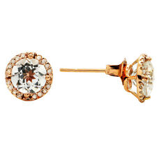 14K ROSE GOLD PAVE DIAMOND HALO 1.89C WHITE TOPAZ STUD  STUDS EARRINGS