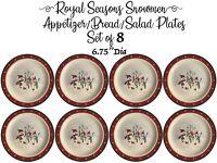Royal Seasons Christmas Snowmen 6 Dinnerware Appetizer Bread Butter Plates Set