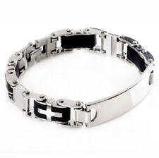 Bracelet Gourmette Homme Acier Inoxydable Design Couleur Argent