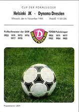 CWC - EC II 85/86 Dynamo Dresden - Helsinki JK, 06.11.1985