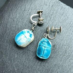 925 Sterling Silver Scarab Earrings - Artisan Corked with Blue Glaze Screw Back