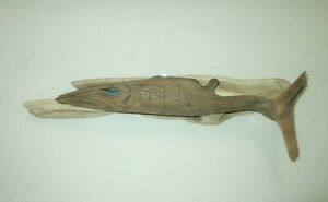 Driftwood Whale Sculpture Carving Wall Hanging Nautical Ocean Shark Fish Signed