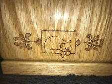 Oak Cat Urn, Laser Engraved With Sleeping Cat Design