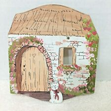 Handmade Wood Thatch Cottage White Kitten Cat Light Switch Cover T2