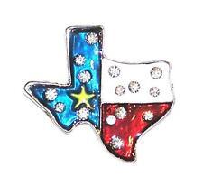 Star State Texas Map Brooch/Pin Rhinestones & Enamel Lone