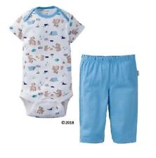 Gerber Baby Boy 2-Piece Blue Camping Bears Onesie & Pants Set Size 12M