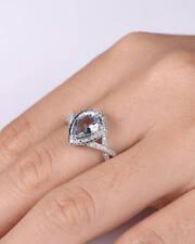 2Ct Pear Cut Aqua Blue Topaz Simlnt Diamond Engagement Ring Silver White Gold Fn