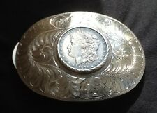 VTG BOYD, RENO, NV STERLING SILVER 1879 U.S. SILVER DOLLAR $1 COIN BELT BUCKLE