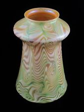 Rare QUEZAL Art Glass Lamp Shade GREEN KING TUT Décor Signed ca 1902 Tiffany Era
