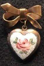 Shaped Locket Brooch Pin Love Valentine Vintage Gold Red Rose White Enamel Heart