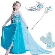 Frozen Elsa Dress Crown Wand Gloves Girls Set Blue Fancy Party Gift Birthday