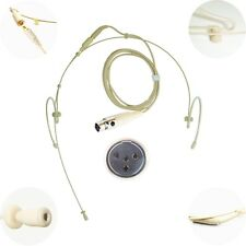 DUAL DOUBLE LEFT RIGHT EAR HOOK MICROPHONE for 4 PIN MINI XLR JTS SHURE TRANTEC