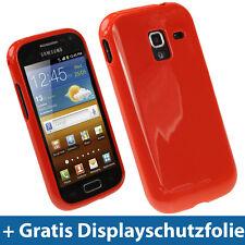 Rot Gel Tasche für Samsung Galaxy Ace 2 I8160 Android Glänzend TPU Hülle Case