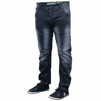 Mens Denim Twisted Leg Tapered Regular Fit Chino Jeans By Crosshatch