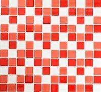 Glasmosaik weiss rose rot Mischung BAD Fliesenspiegel Duschwand 62-0904_b