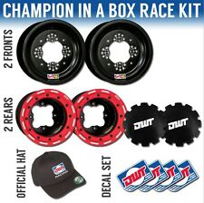 "DWT Red Champion in a Box 10"" Front 8"" Rear Rims Beadlock Rings Suzuki LTR 450"