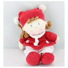 Doudou poupée fille rouge blanc étoile NICOTOY  - Poupée - Lutin Classique