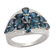 Paraiba Apatite & White Topaz Natural Blue Sterling Silver Ring White Gold over