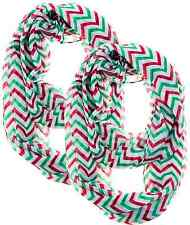 2 Pack Christmas Chevron Sheer Infinity Scarf  Colors Red Green White Loc 3052-A
