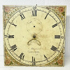 Antique Hand Painted Metal Longcase Grandfather Clock Face Movement Chain Driven