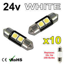 10 X Bianco 24v 31mm Striscia Interno Luce Targa 256 2 SMD SV7-8 Lampadine Hgv
