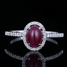 Solid 14K White Gold Ruby 7X5mm Oval Engagement Real SI/H Diamonds Gemstone Ring